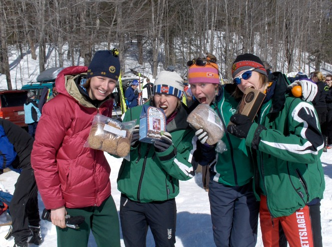The average athlete enjoys getting food as prizes. left to right: Julie Carson, me, Courtney Robinson, and Katie Bono at the Wonalancet Wander.
